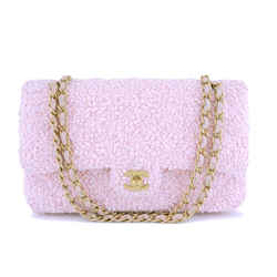 Chanel Pink Tweed Medium Classic Double Flap Bag GHW