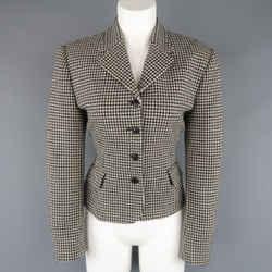 Ralph Lauren Size 10 Cream & Black Houndstooth Wool / Cashmere Cropped Jacket