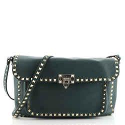 Rockstud Flip Lock Front Pocket Flap Messenger Bag Leather Medium