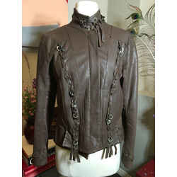 Sportmax Size 6 Brown Leather Lace Up Jacket 369-112-21920