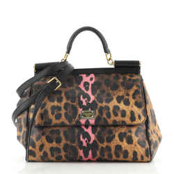 Miss Sicily Bag Leopard Print Leather Large