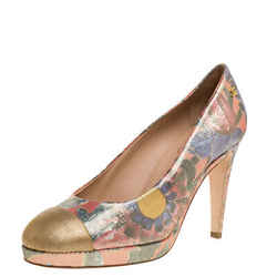 Chanel Multicolor Lurex Crepe Fabric and Leather Cap Toe Paris Dubai Platform
