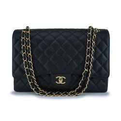 Chanel Black Caviar Maxi Classic Flap Bag GHW