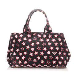 Vintage Authentic Prada Multi Canvas Fabric Printed Canapa Handbag ROMANIA