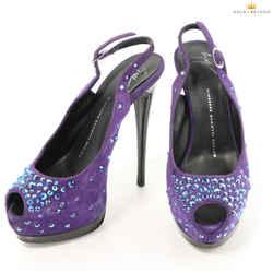 Giuseppe Zanotti Purple Suede Jewel Embellished Pumps