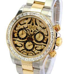 Rolex Mens Daytona 116503 Tiger Diamond Dial Diamond Bezel 40mm Watch