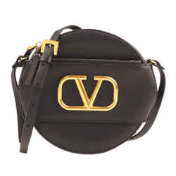 Vintage Authentic Valentino Black Calf Leather V Sling Crossbody Bag Italy