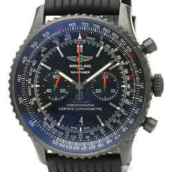 BREITLING Navitimer 46 Black Steel Leather Automatic Mens Watch MB0128 BF526577
