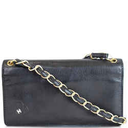 Chanel Camellia Leather Wallet On Chain Shoulder Bag Black