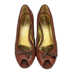 Miu Miu - Wedge Heels -  Us 9.5 - 40 - Brown Cognac Leather - Bow Peep Toe Shoes