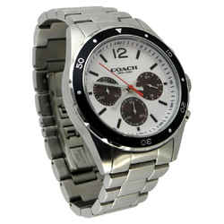Coach Men's Brushed Silver-tone Stainless Steel Chronograph Watch