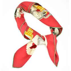 "Cartier ""timepieces"": Red & Logo, 100% Silk Twill, Scarf 34"" X 34"" (mq)"