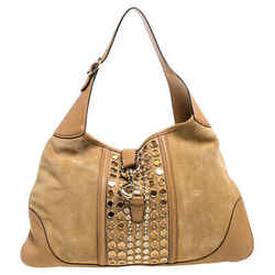 Gucci Tan Suede and Leather Jackie O Grommet Hobo