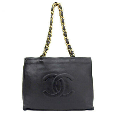 Auth Chanel Lambskin Chain Tote Bag Black Leather