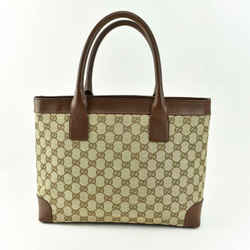 "GUCCI: Beige ""GG"" Logo & Brown Leather Medium Tote Bag (us)"