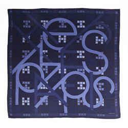 Hermes Scarf Anamorphee Blue Cashmere Silk