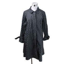 Prada Black Polyester White Polka Dots Trenchcoat Sz 6