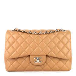 Classic Double Flap Jumbo Caviar Leather Bag