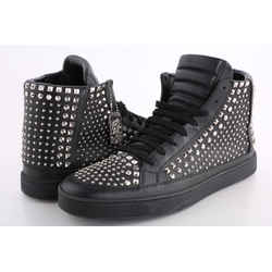 Gucci Leather High-top with Silver Stud Sneakers