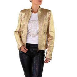 New Versace Gold Metallic Textured Leather Jacket 40 - 4