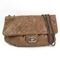 Chanel Matelasse Double Chain Women's Leather Shoulder Bag Light Brown Bf509495