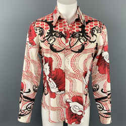 JUST CAVALLI Size XL White & Red Print Cotton Button Up Long Sleeve Shirt