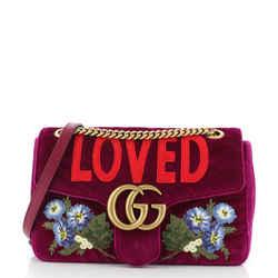 GG Marmont Flap Bag Embroidered Matelasse Velvet Medium