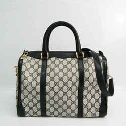 Gucci Old Gucci 24 02 604 Women's Leather,PVC Boston Bag Beige,Navy BF523805