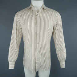 Isaia Size M White & Tan Stripe Cotton Long Sleeve Shirt