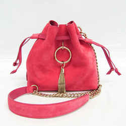 Jimmy Choo CALLIE DRAW STRING / S Women's Leather,Suede Shoulder Bag Pi BF527380
