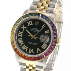 Rolex Datejust Mens 36mm 2-Tone Black Roman Diamond Dial Rainbow Bezel Watch