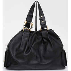 BVLGARI Black Leather Tote Bag LEONI Lion Head Gold-Tone HW Pockets Shoulderbag