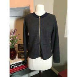 Marni Sz 40 Gray Wool Knit Bomber Jacket 2292-42-81120