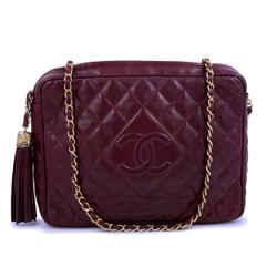 Chanel Vintage Large Classic Wine Red Burgundy XL Large Camera Bag