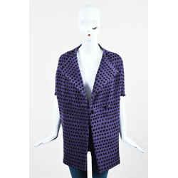 Bottega Veneta Purple Black Wool Polka Dot Collarless Cape SZ 42