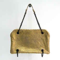 Bottega Veneta Leather Shoulder Bag Gold Bf342101