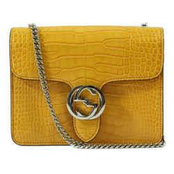 Nwt Gucci 387609 Interlocking G Crocodile Shoulder Bag, Curcuma
