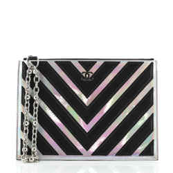 O Case Clutch Chevron Lambskin with Holographic PVC Small