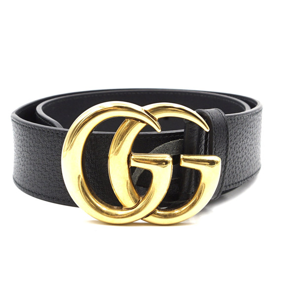 "Gucci Black Marmont GG 1.5"" Wide Grained Leather Size 70/28 Belt"