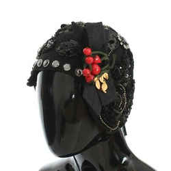 Dolce & Gabbana Black Crystal Gold Cherries Brooch Women's Hat