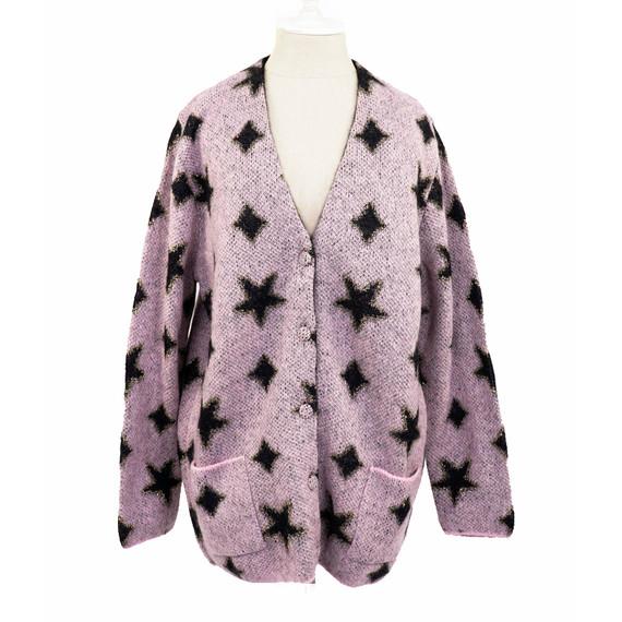 sz XL NEW $1755 SAINT LAURENT RUNWAY Pink Mohair Black STAR CARDIGAN Sweater TOP