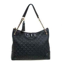Tory Burch Black Leather Fleming Top Zip Shoulder Bag