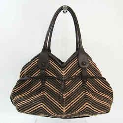 Salvatore Ferragamo Braided DH-21 6804 Women's Leather Tote Bag Dark Br BF527969