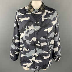 VALENTINO Chest Size XL Black & Grey Camouflage Polyamide Snaps Size XL Jacket