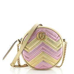 GG Marmont Round Shoulder Bag Matelasse Leather Mini