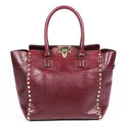 Valentino Bag Rockstud Double Handle Red Leather Tote