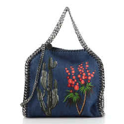 Falabella Fold Over Crossbody Bag Embroidered Denim Mini