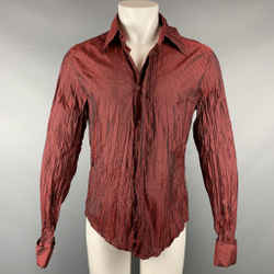 JUST CAVALLI Size M Burgundy Wrinkled Polyester Button Up Long Sleeve Shirt