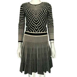 Marc By Marc Jacobs Black Multi Fit & Flare Sweater Dress Sz Extra Small