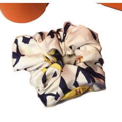 Hermes Handmade Vintage En Course Silk Scarf Scrunchie in Navy and White